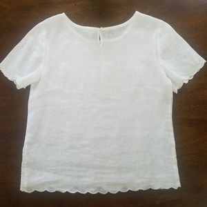 J. Crew Embroidered Scalloped 100% Linen Top